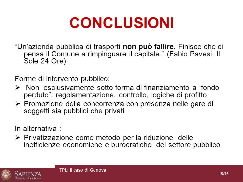 CONCLUSIONI Un'azienda pubblica di trasporti non può fallire. Finisce che ci pensa il Comune a rimpinguare il capitale. (Fabio Pavesi, Il Sole 24 Ore)