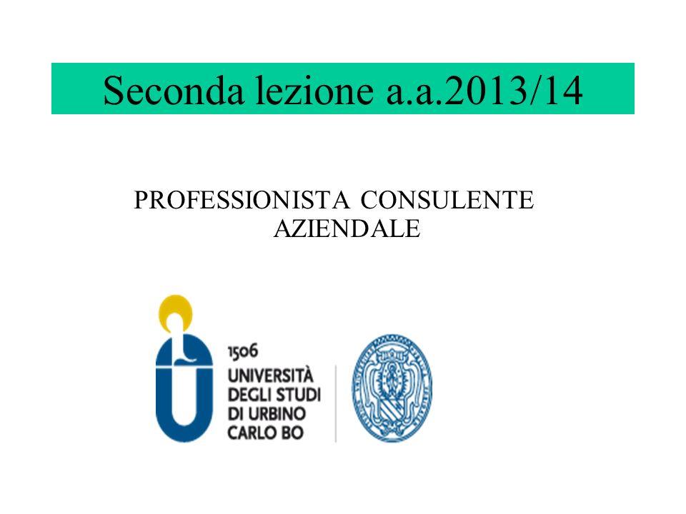 Seconda lezione a.a.2013/14 PROFESSIONISTA CONSULENTE AZIENDALE