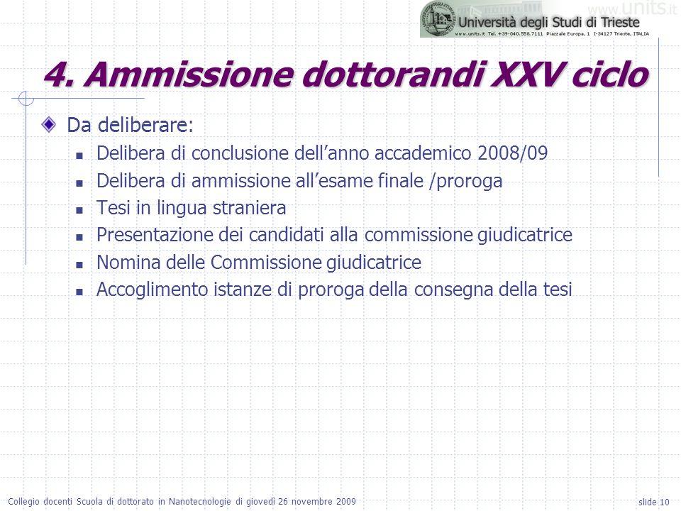 slide 10 Collegio docenti Scuola di dottorato in Nanotecnologie di giovedì 26 novembre 2009 Da deliberare: Delibera di conclusione dellanno accademico