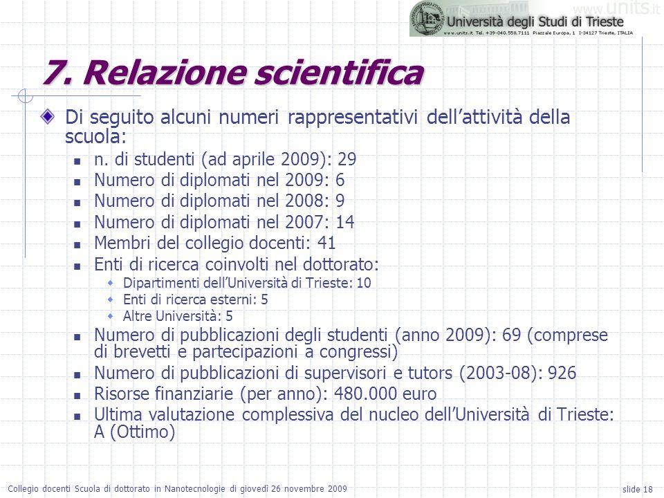 slide 18 Collegio docenti Scuola di dottorato in Nanotecnologie di giovedì 26 novembre 2009 Di seguito alcuni numeri rappresentativi dellattività dell