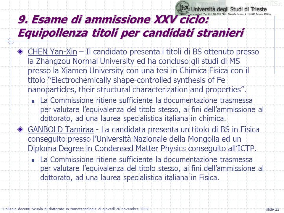 slide 22 Collegio docenti Scuola di dottorato in Nanotecnologie di giovedì 26 novembre 2009 CHEN Yan-Xin – Il candidato presenta i titoli di BS ottenu