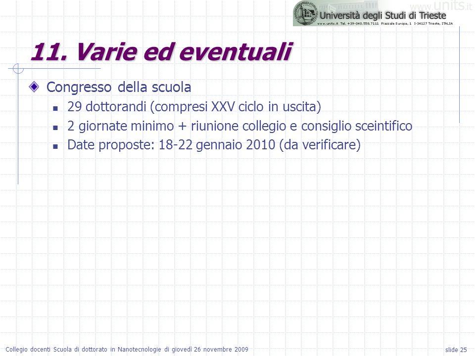 slide 25 Collegio docenti Scuola di dottorato in Nanotecnologie di giovedì 26 novembre 2009 11. Varie ed eventuali Congresso della scuola 29 dottorand