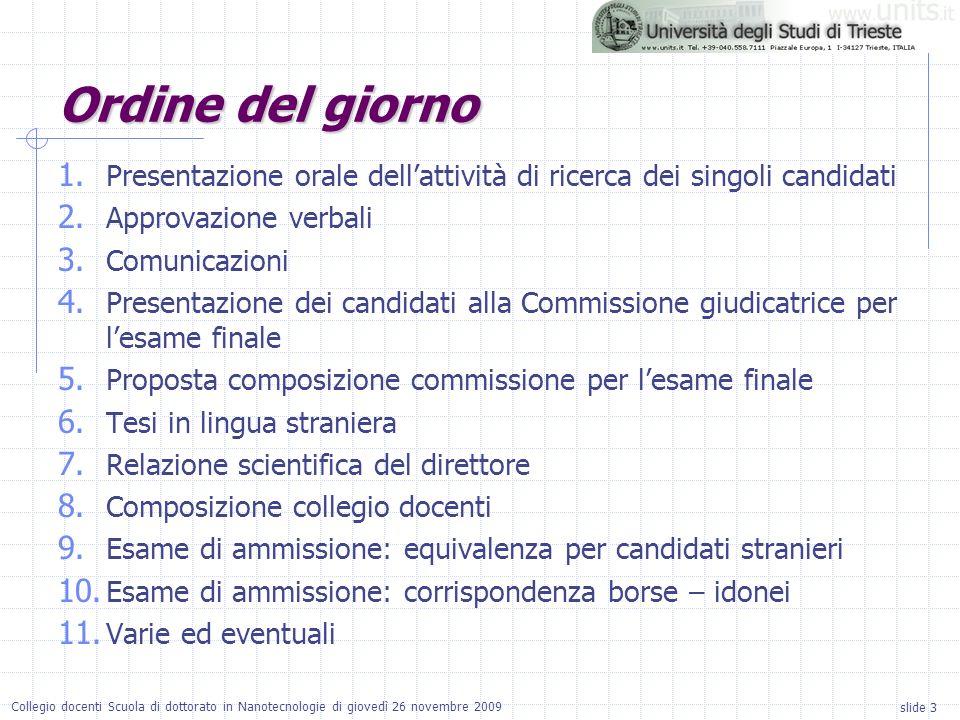 slide 3 Collegio docenti Scuola di dottorato in Nanotecnologie di giovedì 26 novembre 2009 Ordine del giorno 1. Presentazione orale dellattività di ri