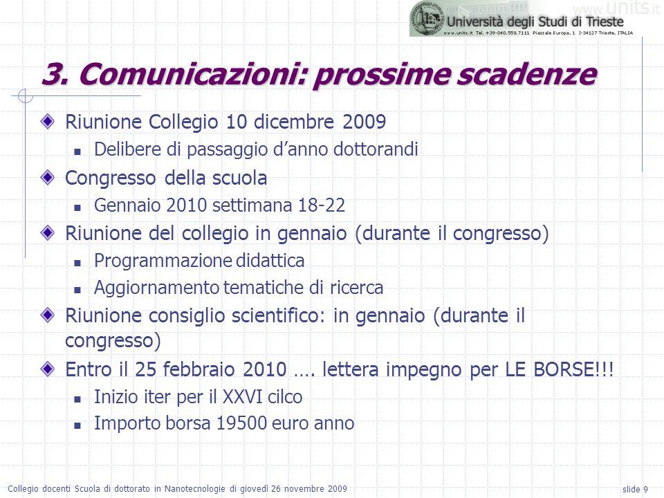 slide 9 Collegio docenti Scuola di dottorato in Nanotecnologie di giovedì 26 novembre 2009 Riunione Collegio 10 dicembre 2009 Delibere di passaggio da