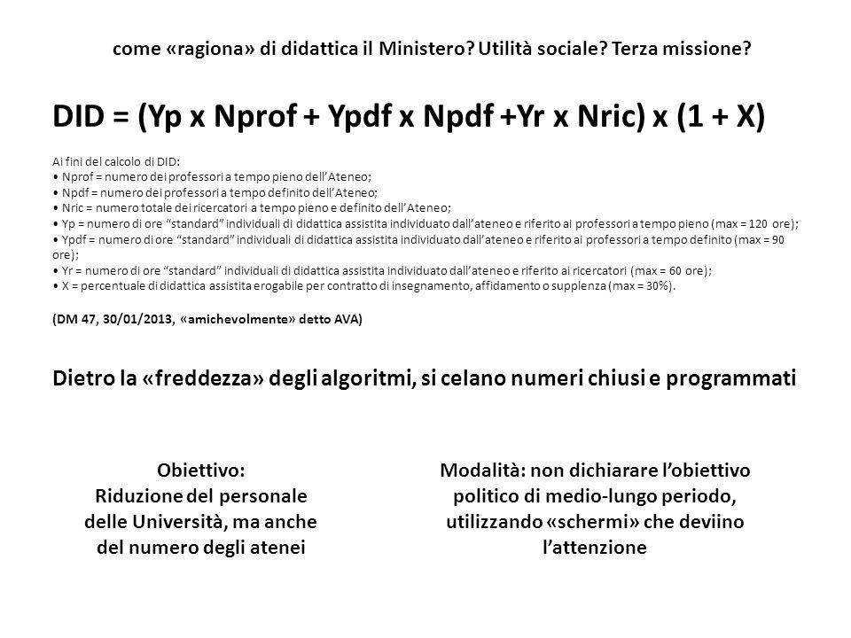 come «ragiona» di didattica il Ministero? Utilità sociale? Terza missione? DID = (Yp x Nprof + Ypdf x Npdf +Yr x Nric) x (1 + X) Ai fini del calcolo d