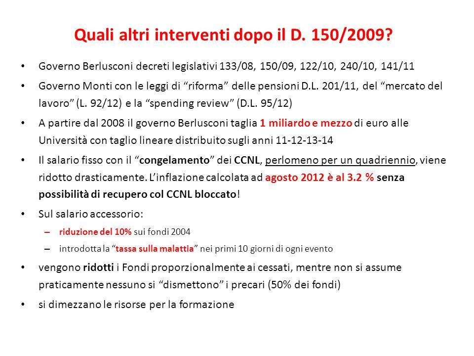 Governo Berlusconi decreti legislativi 133/08, 150/09, 122/10, 240/10, 141/11 Governo Monti con le leggi di riforma delle pensioni D.L. 201/11, del me