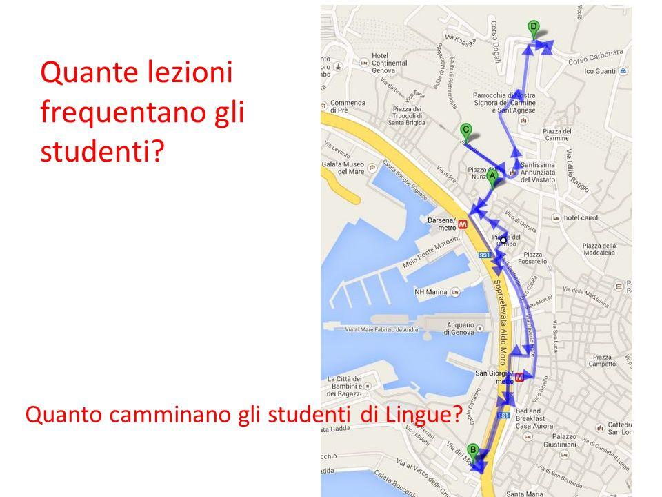 Quante lezioni frequentano gli studenti? Quanto camminano gli studenti di Lingue?