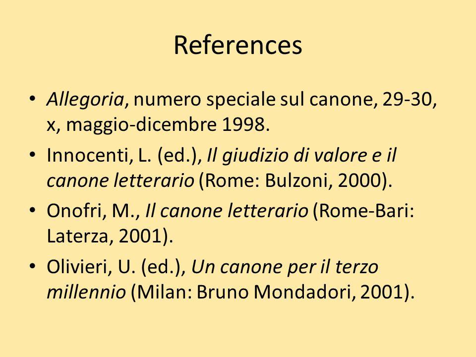 References Allegoria, numero speciale sul canone, 29-30, x, maggio-dicembre 1998.
