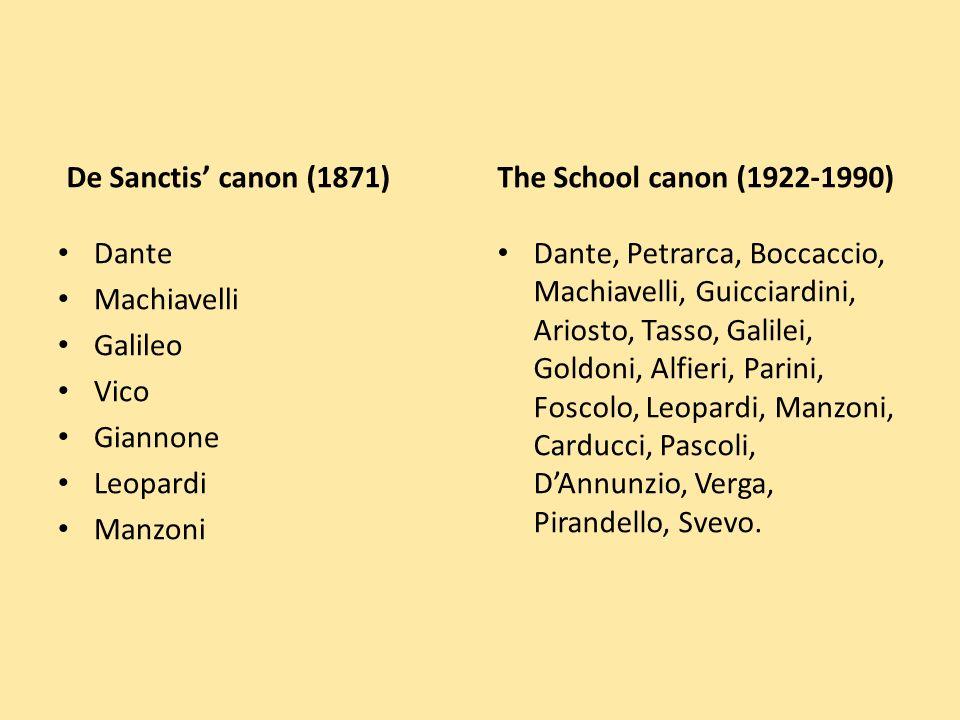 De Sanctis canon (1871) Dante Machiavelli Galileo Vico Giannone Leopardi Manzoni The School canon (1922-1990) Dante, Petrarca, Boccaccio, Machiavelli, Guicciardini, Ariosto, Tasso, Galilei, Goldoni, Alfieri, Parini, Foscolo, Leopardi, Manzoni, Carducci, Pascoli, DAnnunzio, Verga, Pirandello, Svevo.