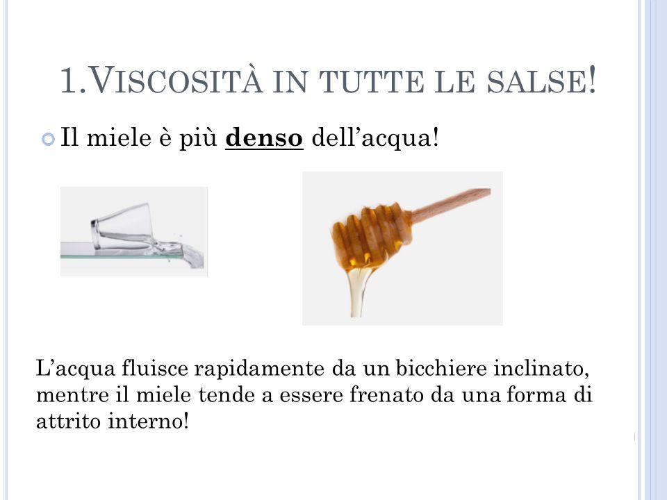 Il miele è più denso dellacqua! 1.V ISCOSITÀ IN TUTTE LE SALSE ! Lacqua fluisce rapidamente da un bicchiere inclinato, mentre il miele tende a essere