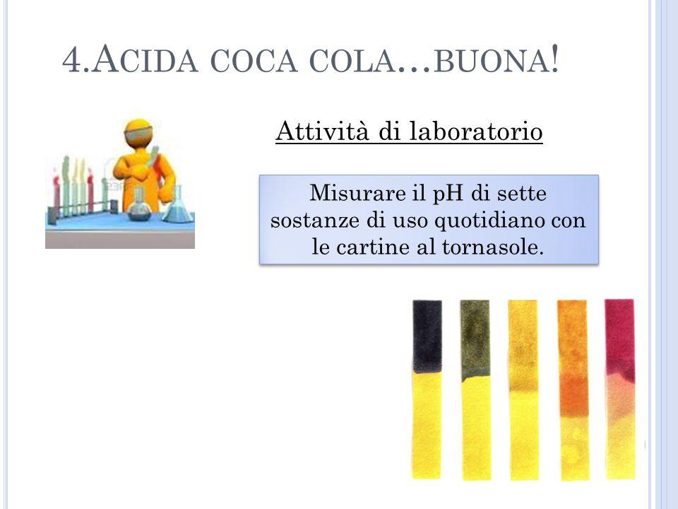 Attività di laboratorio Misurare il pH di sette sostanze di uso quotidiano con le cartine al tornasole.