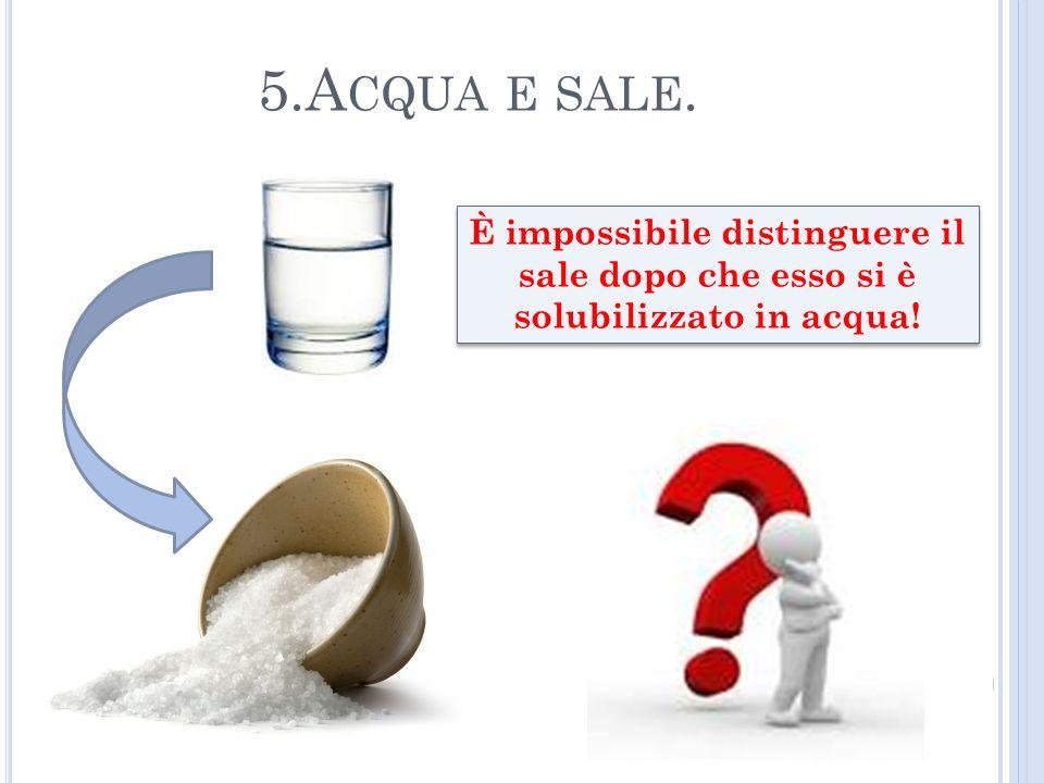 5.A CQUA E SALE. È impossibile distinguere il sale dopo che esso si è solubilizzato in acqua!