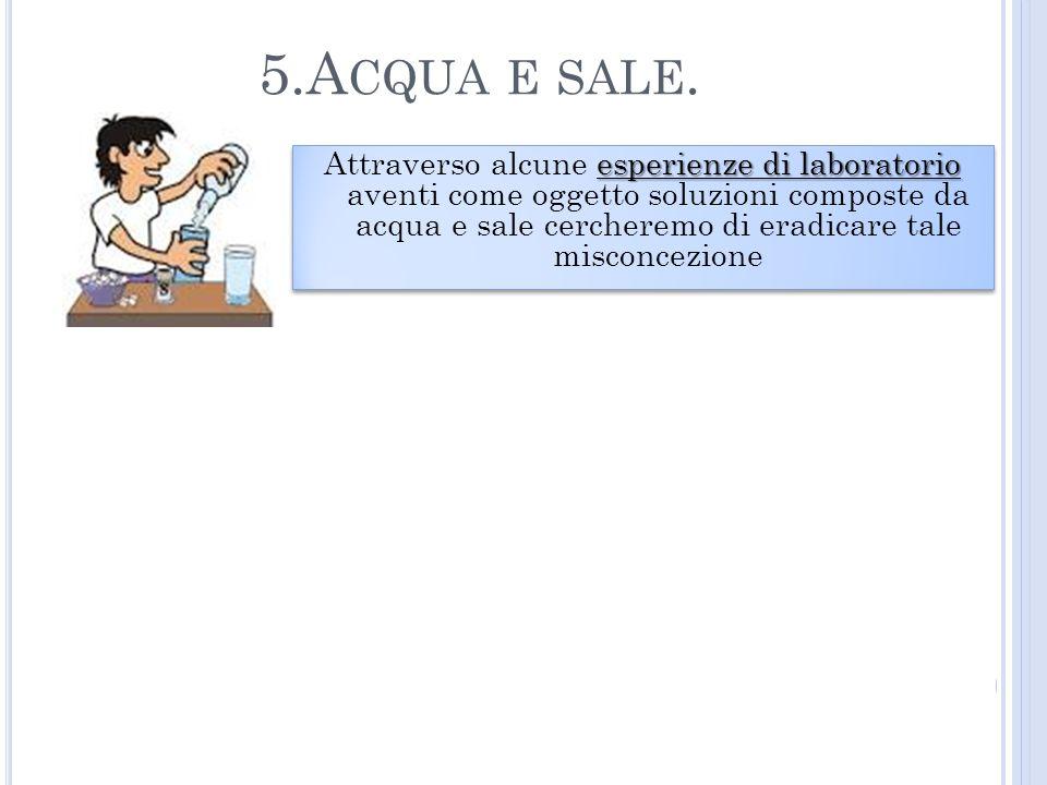 5.A CQUA E SALE. esperienze di laboratorio Attraverso alcune esperienze di laboratorio aventi come oggetto soluzioni composte da acqua e sale cerchere