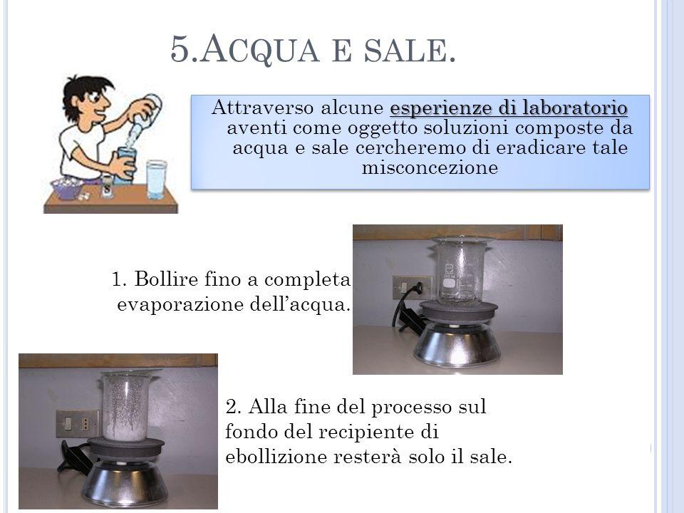 1. Bollire fino a completa evaporazione dellacqua. 2. Alla fine del processo sul fondo del recipiente di ebollizione resterà solo il sale. 5.A CQUA E