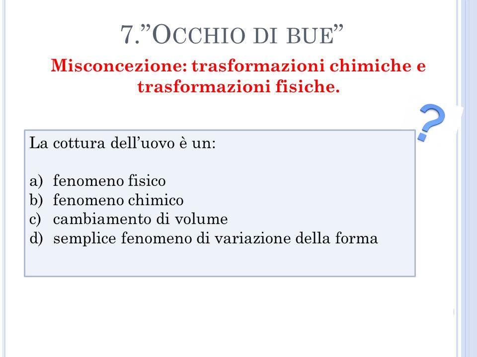 7.O CCHIO DI BUE La cottura delluovo è un: a)fenomeno fisico b)fenomeno chimico c)cambiamento di volume d)semplice fenomeno di variazione della forma