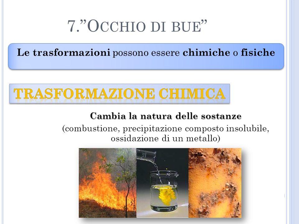 Le trasformazioni possono essere chimiche o fisiche 7.O CCHIO DI BUE Cambia la natura delle sostanze (combustione, precipitazione composto insolubile, ossidazione di un metallo)