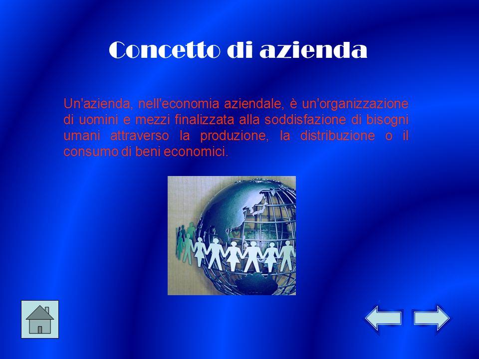 Concetto di azienda Un azienda, nell economia aziendale, è un organizzazione di uomini e mezzi finalizzata alla soddisfazione di bisogni umani attraverso la produzione, la distribuzione o il consumo di beni economici.