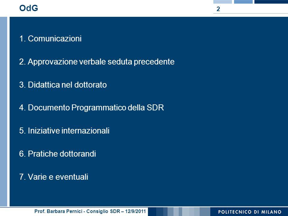 Prof. Barbara Pernici - Consiglio SDR – 12/9/2011 OdG 1. Comunicazioni 2. Approvazione verbale seduta precedente 3. Didattica nel dottorato 4. Documen