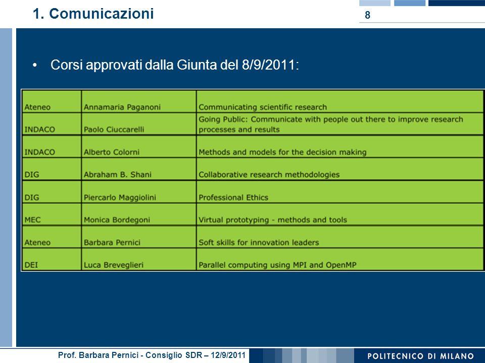 Prof. Barbara Pernici - Consiglio SDR – 12/9/2011 1. Comunicazioni Corsi approvati dalla Giunta del 8/9/2011: Corsi a carattere generale: 8