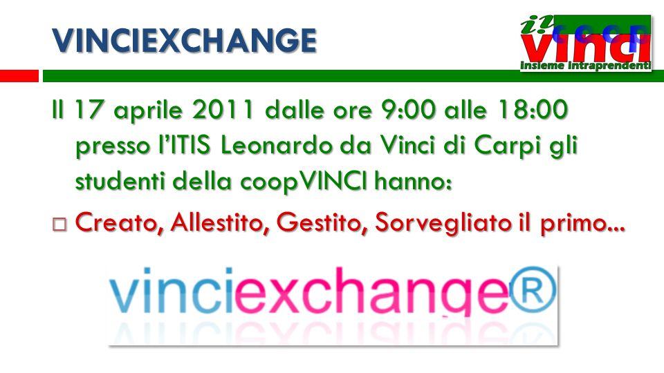 VINCIEXCHANGE Il 17 aprile 2011 dalle ore 9:00 alle 18:00 presso lITIS Leonardo da Vinci di Carpi gli studenti della coopVINCI hanno: Creato, Allestit