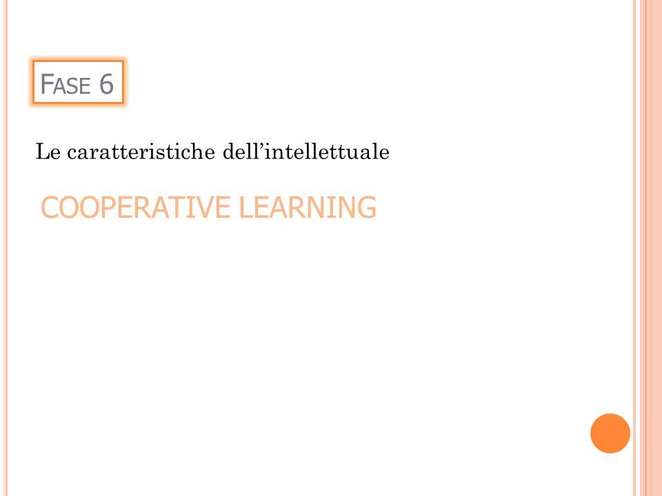 F ASE 6 Le caratteristiche dellintellettuale COOPERATIVE LEARNING