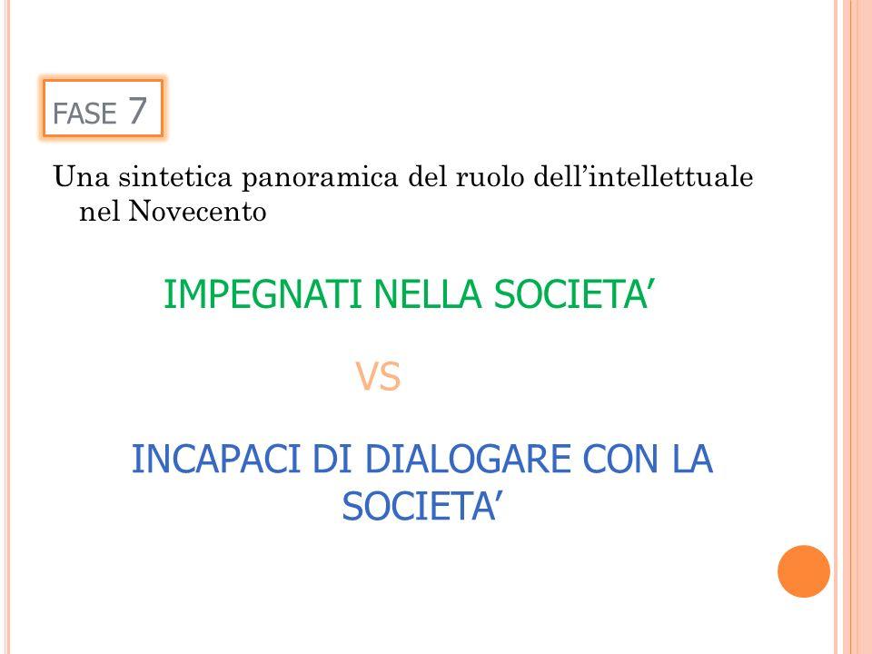 FASE 7 IMPEGNATI NELLA SOCIETA INCAPACI DI DIALOGARE CON LA SOCIETA VS Una sintetica panoramica del ruolo dellintellettuale nel Novecento