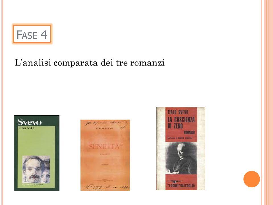 F ASE 4 Lanalisi comparata dei tre romanzi