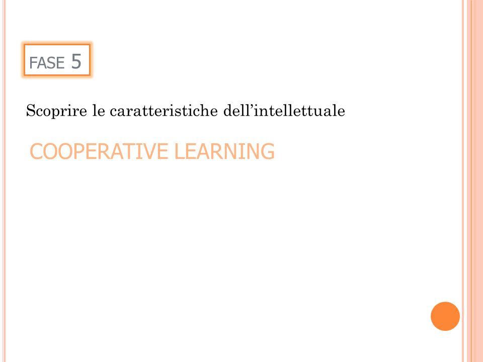 FASE 5 Scoprire le caratteristiche dellintellettuale COOPERATIVE LEARNING