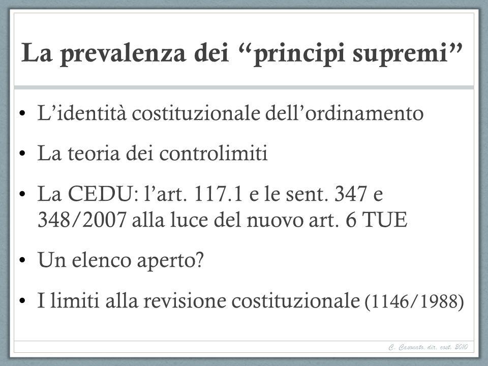 La prevalenza dei principi supremi Lidentità costituzionale dellordinamento La teoria dei controlimiti La CEDU: lart. 117.1 e le sent. 347 e 348/2007