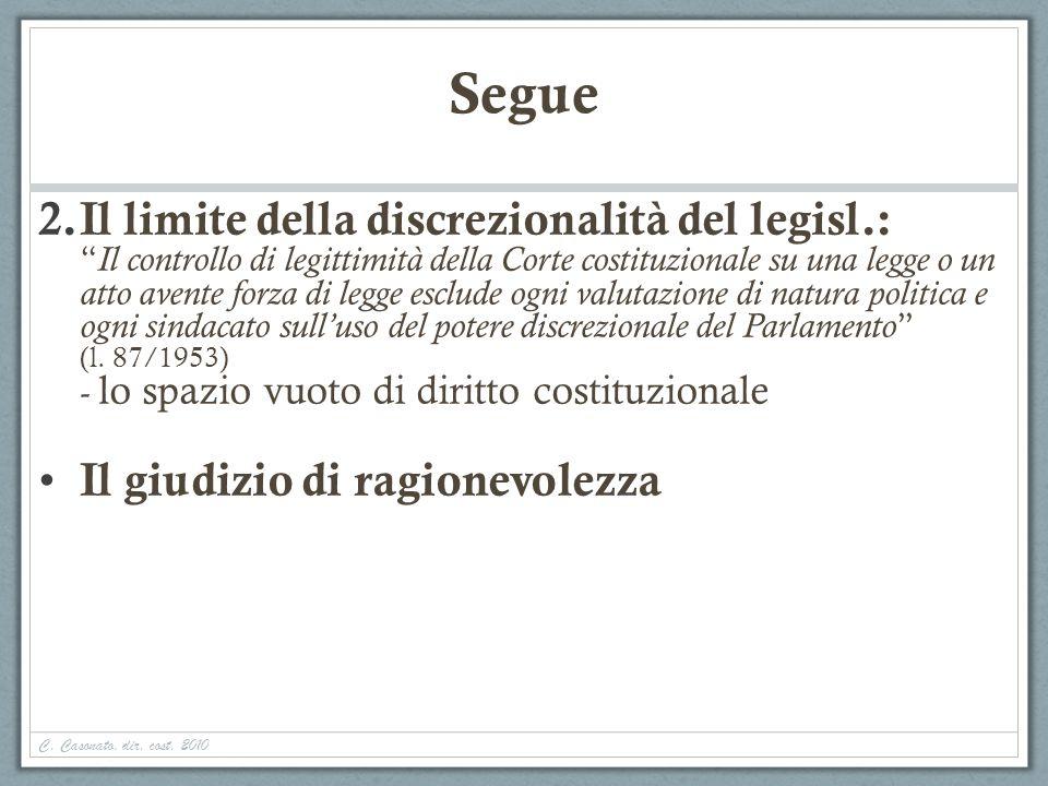 C. Casonato, dir. cost. 2010 Segue 2. Il limite della discrezionalità del legisl.: Il controllo di legittimità della Corte costituzionale su una legge
