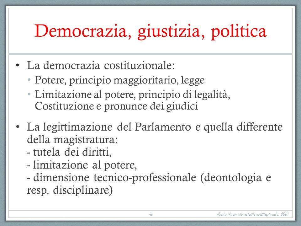 Democrazia, giustizia, politica La democrazia costituzionale: Potere, principio maggioritario, legge Limitazione al potere, principio di legalità, Cos