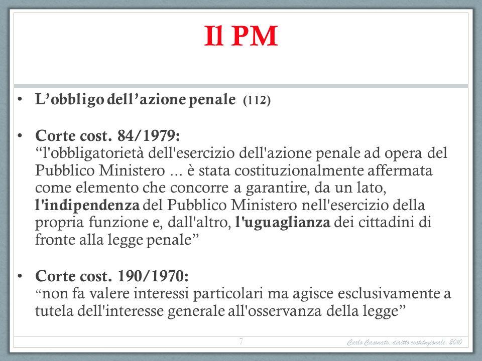 Il PM Lobbligo dellazione penale (112) Corte cost. 84/1979: l'obbligatorietà dell'esercizio dell'azione penale ad opera del Pubblico Ministero... è st
