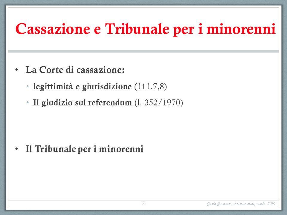 Cassazione e Tribunale per i minorenni La Corte di cassazione: legittimità e giurisdizione (111.7,8) Il giudizio sul referendum (l. 352/1970) Il Tribu