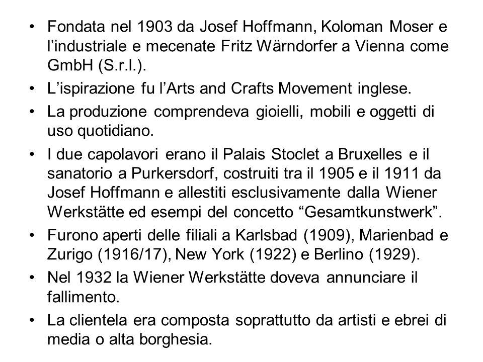 Fondata nel 1903 da Josef Hoffmann, Koloman Moser e lindustriale e mecenate Fritz Wärndorfer a Vienna come GmbH (S.r.l.). Lispirazione fu lArts and Cr
