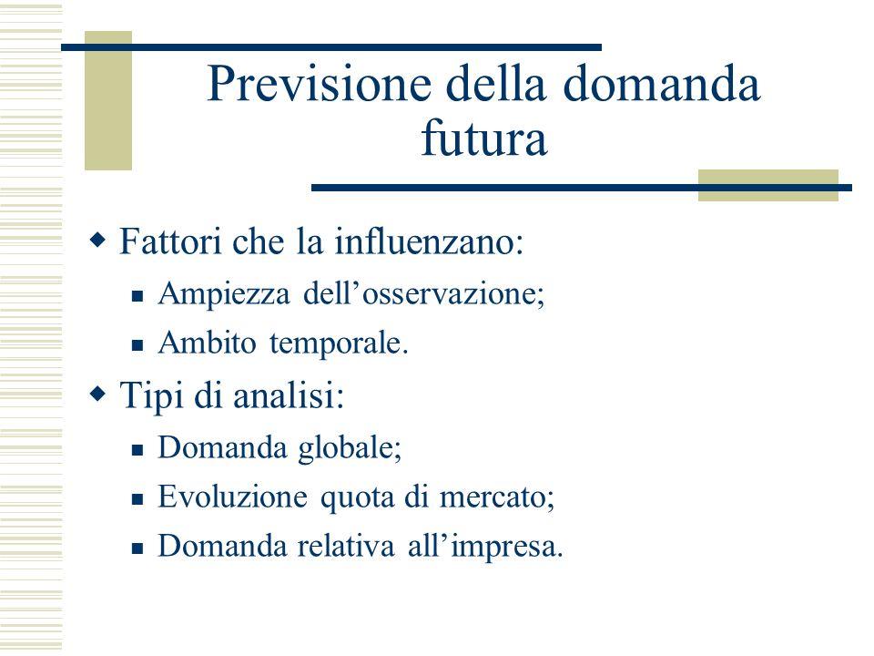 Previsione della domanda futura Fattori che la influenzano: Ampiezza dellosservazione; Ambito temporale. Tipi di analisi: Domanda globale; Evoluzione