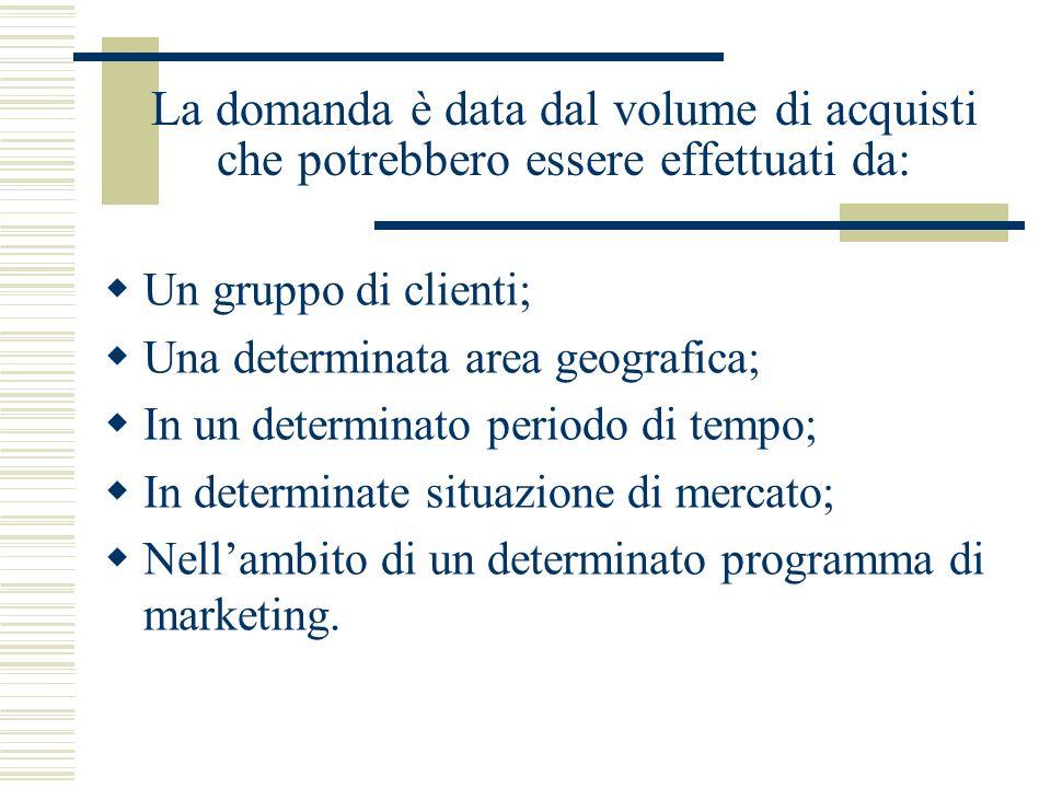 La domanda è data dal volume di acquisti che potrebbero essere effettuati da: Un gruppo di clienti; Una determinata area geografica; In un determinato