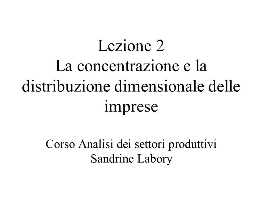 Lezione 2 La concentrazione e la distribuzione dimensionale delle imprese Corso Analisi dei settori produttivi Sandrine Labory
