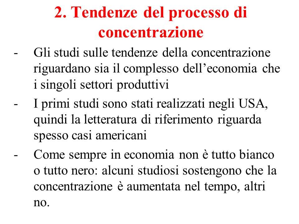 2. Tendenze del processo di concentrazione -Gli studi sulle tendenze della concentrazione riguardano sia il complesso delleconomia che i singoli setto