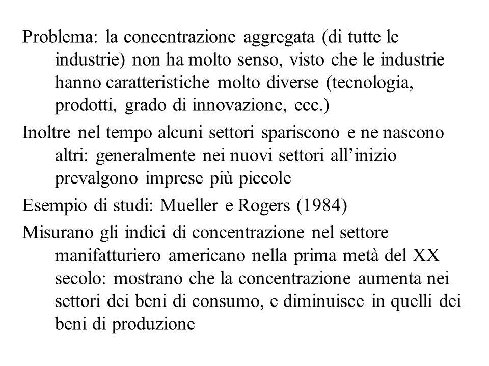 Problema: la concentrazione aggregata (di tutte le industrie) non ha molto senso, visto che le industrie hanno caratteristiche molto diverse (tecnolog