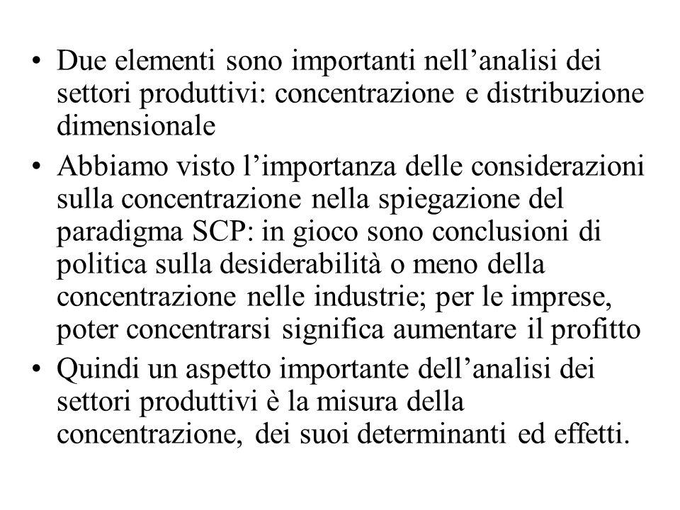 Due elementi sono importanti nellanalisi dei settori produttivi: concentrazione e distribuzione dimensionale Abbiamo visto limportanza delle considera
