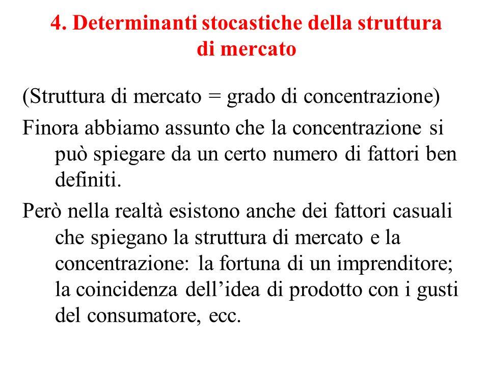 4. Determinanti stocastiche della struttura di mercato (Struttura di mercato = grado di concentrazione) Finora abbiamo assunto che la concentrazione s
