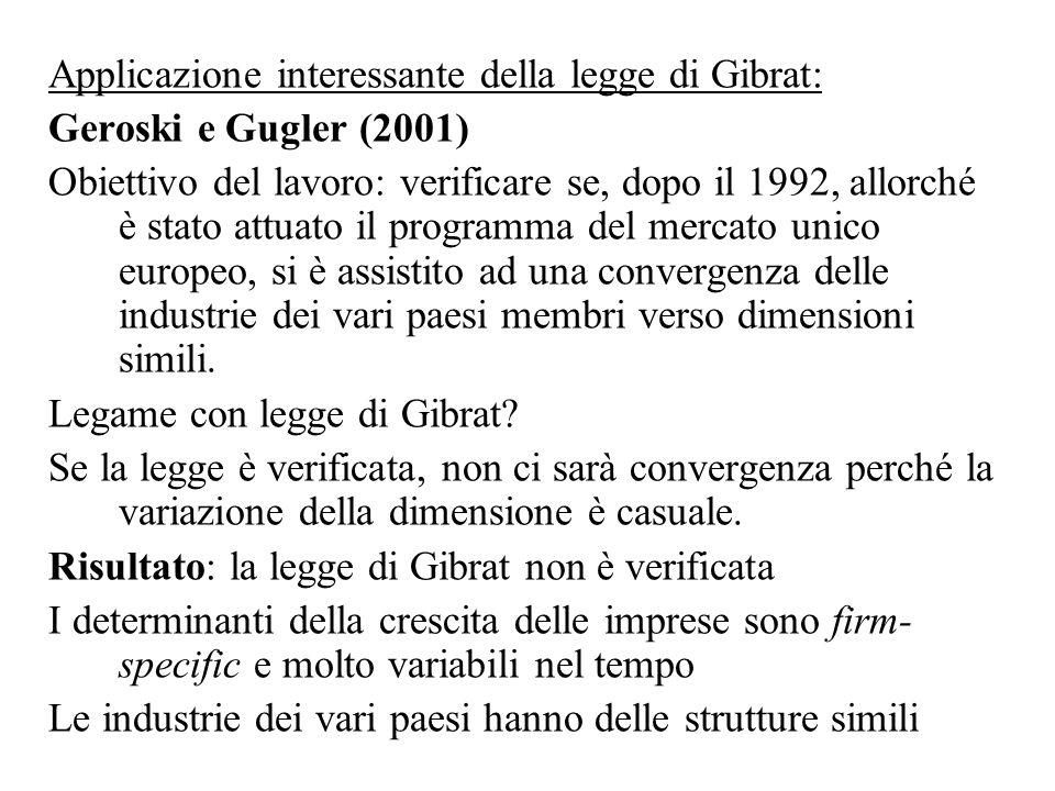 Applicazione interessante della legge di Gibrat: Geroski e Gugler (2001) Obiettivo del lavoro: verificare se, dopo il 1992, allorché è stato attuato i