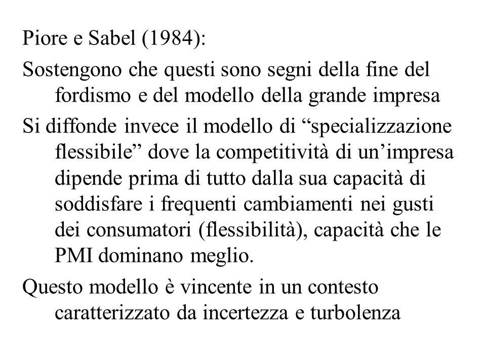 Piore e Sabel (1984): Sostengono che questi sono segni della fine del fordismo e del modello della grande impresa Si diffonde invece il modello di spe