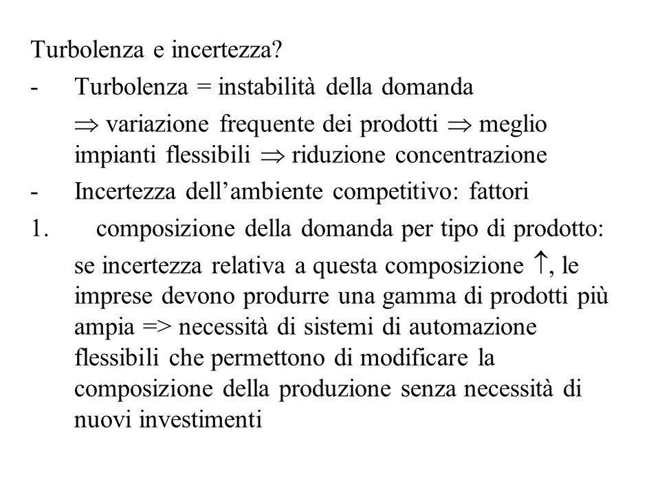 Turbolenza e incertezza? -Turbolenza = instabilità della domanda variazione frequente dei prodotti meglio impianti flessibili riduzione concentrazione