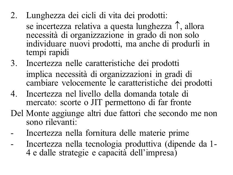 2.Lunghezza dei cicli di vita dei prodotti: se incertezza relativa a questa lunghezza, allora necessità di organizzazione in grado di non solo individ