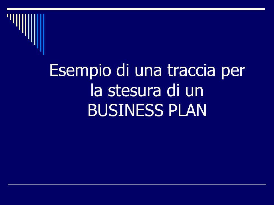 Esempio di una traccia per la stesura di un BUSINESS PLAN