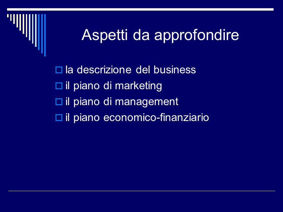 Aspetti da approfondire la descrizione del business il piano di marketing il piano di management il piano economico-finanziario