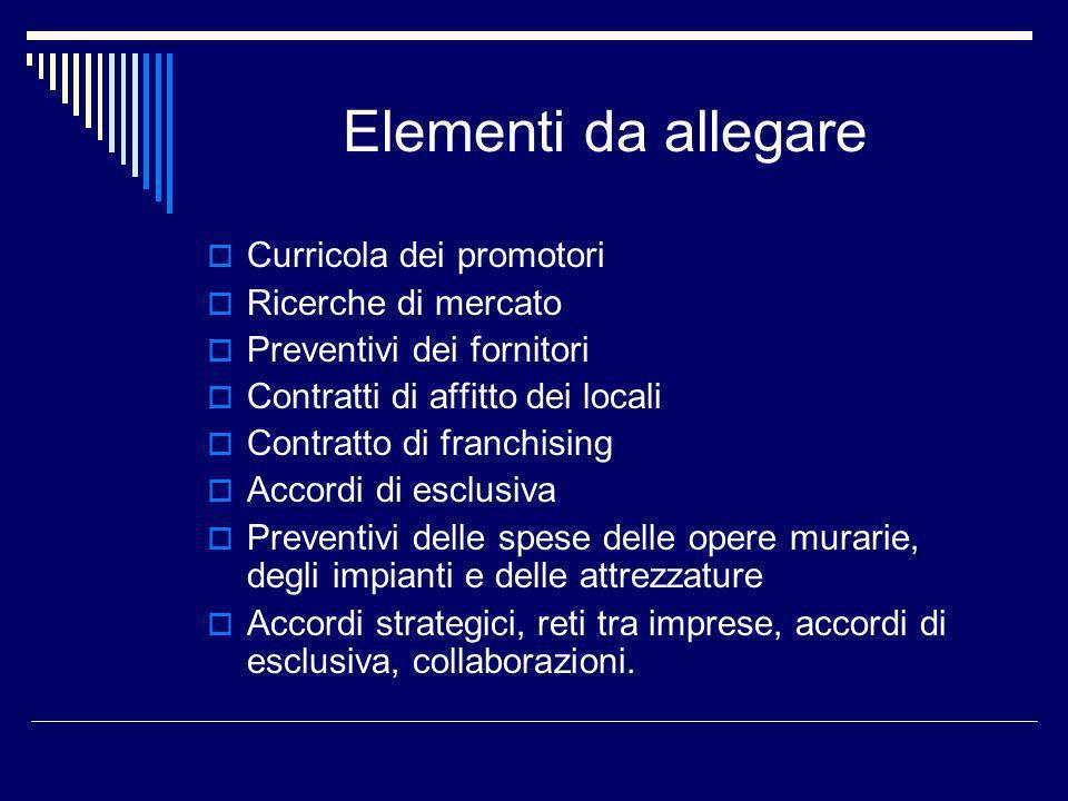 Elementi da allegare Curricola dei promotori Ricerche di mercato Preventivi dei fornitori Contratti di affitto dei locali Contratto di franchising Acc