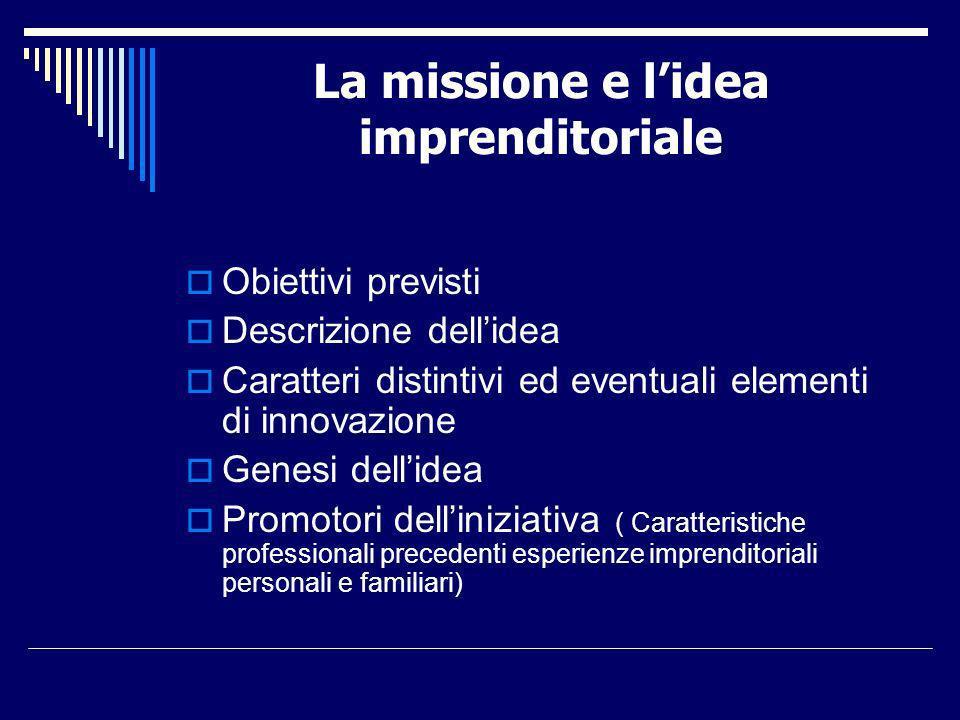 La missione e lidea imprenditoriale Obiettivi previsti Descrizione dellidea Caratteri distintivi ed eventuali elementi di innovazione Genesi dellidea