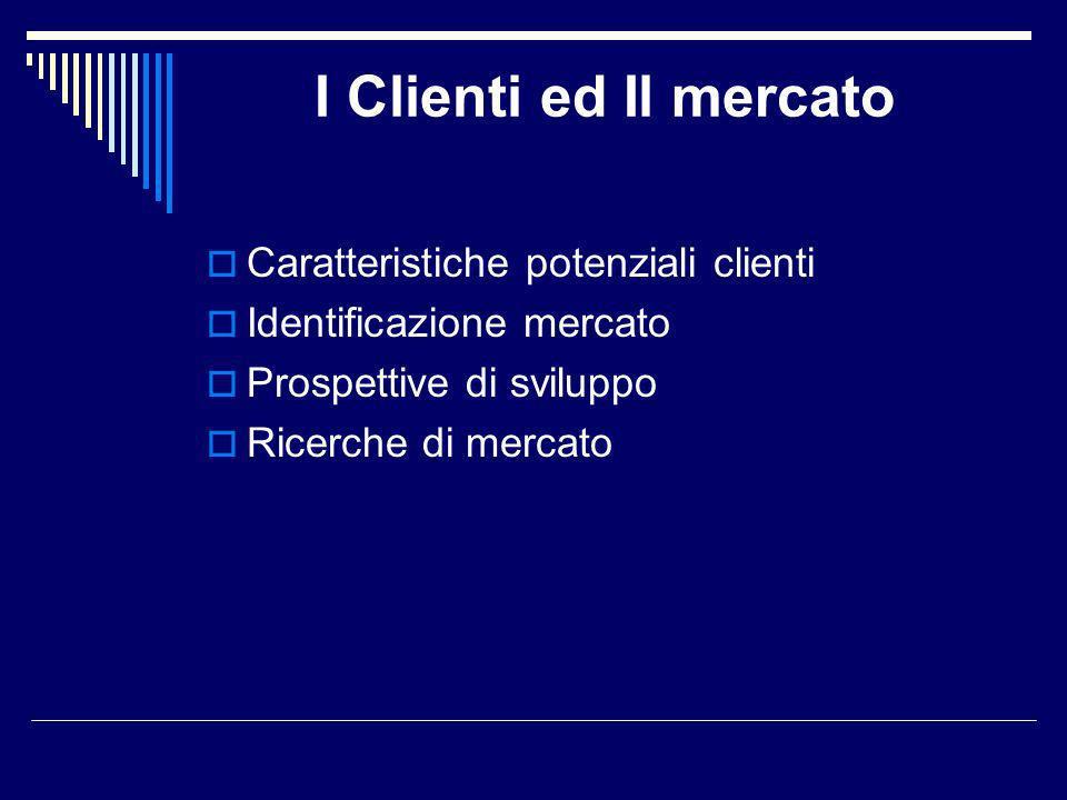 I Clienti ed Il mercato Caratteristiche potenziali clienti Identificazione mercato Prospettive di sviluppo Ricerche di mercato